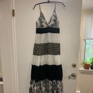 Summer Maxi Sundress - Black/White